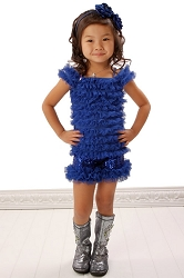 Twirl Royal Blue Sequin Tulle Ruffled Shorts
