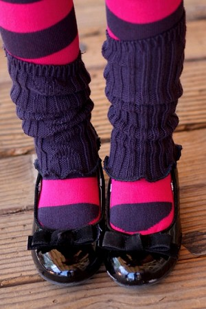 Eliane Et Lena Navy & Fuchsia Valentine Tights with Leg Warmers
